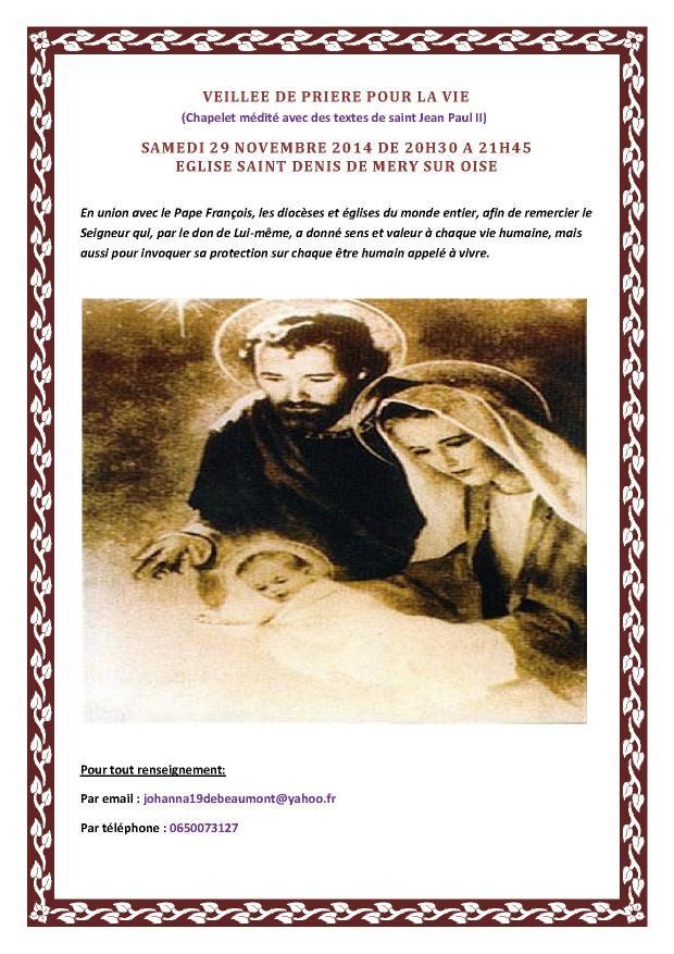 Affiche Veillée de prière pour la vie 2014