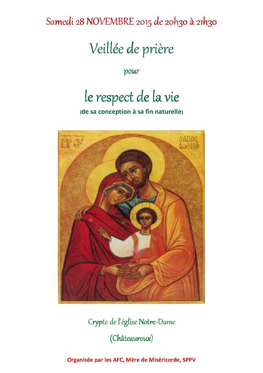 Affiche veillée de prière pour la vie 2015