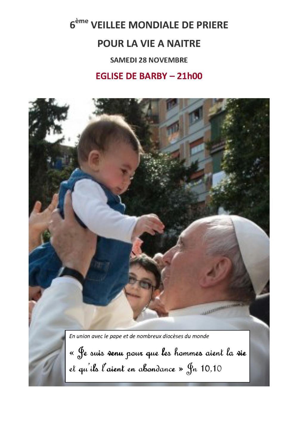 6ème VEILLEE MONDIALE DE PRIERE POUR LA VIE NAISSANTE