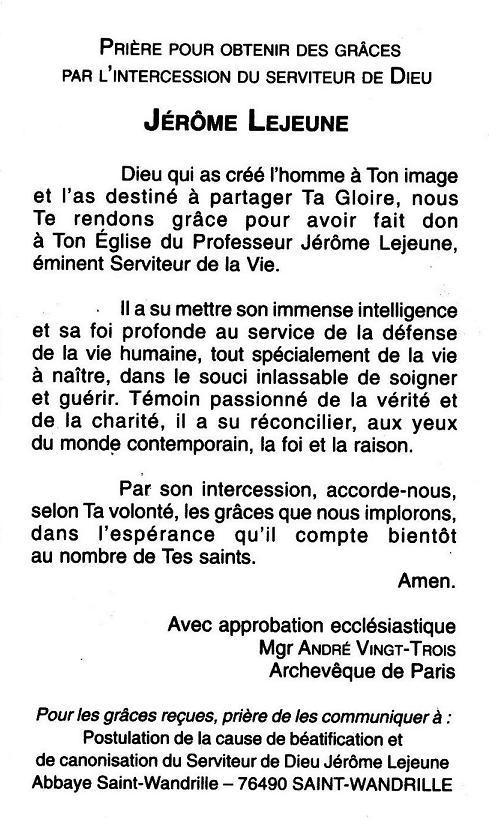 Jérôme Lejeune verso